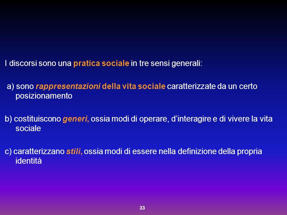 I discorsi sono una pratica sociale in tre sensi generali:
