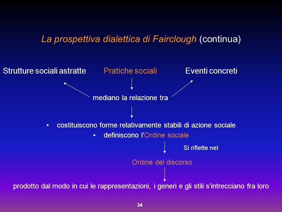 La prospettiva dialettica di Fairclough (continua)