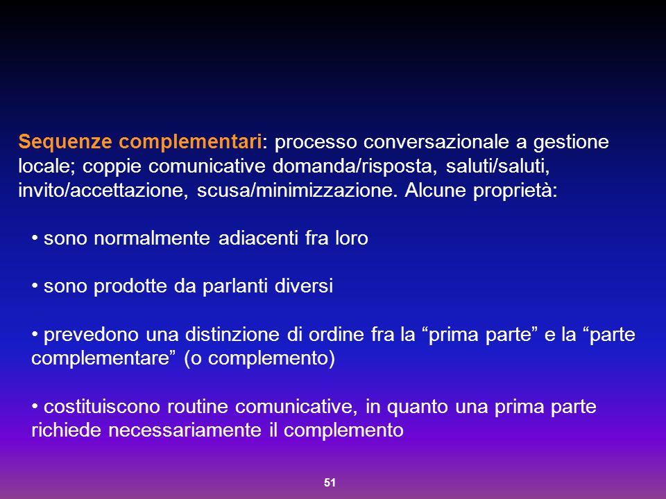 Sequenze complementari: processo conversazionale a gestione locale; coppie comunicative domanda/risposta, saluti/saluti, invito/accettazione, scusa/minimizzazione. Alcune proprietà:
