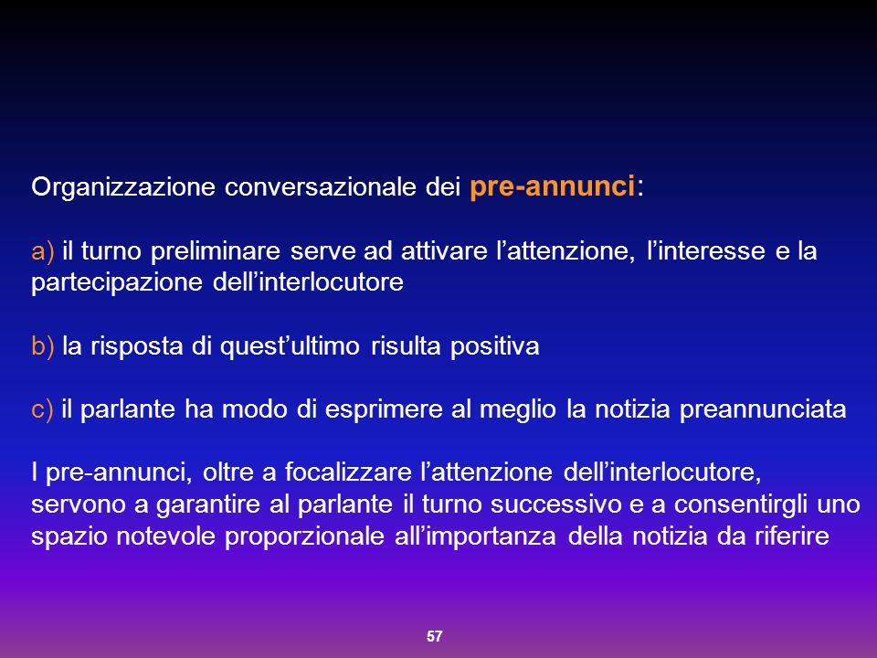 Organizzazione conversazionale dei pre-annunci: