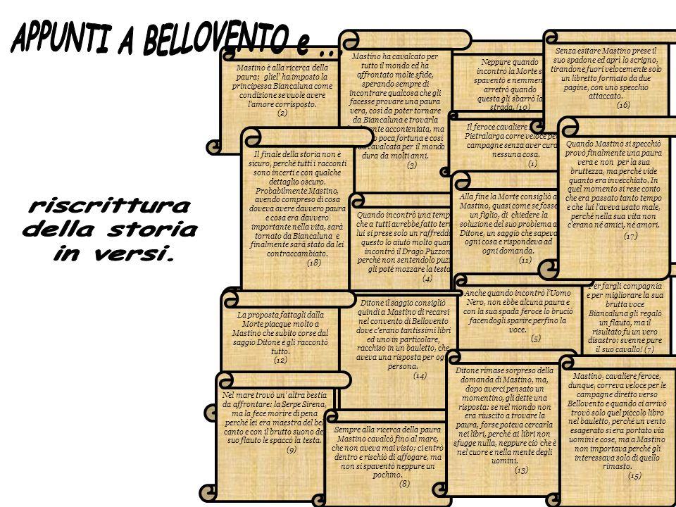 APPUNTI A BELLOVENTO e ... riscrittura della storia in versi.