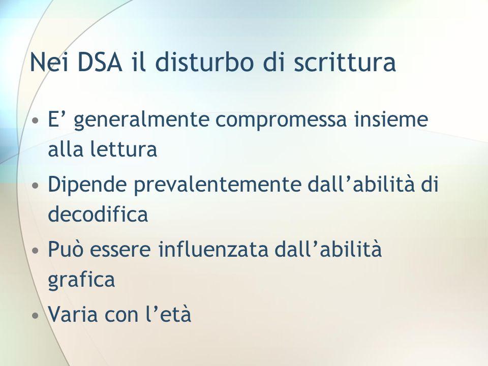 Nei DSA il disturbo di scrittura