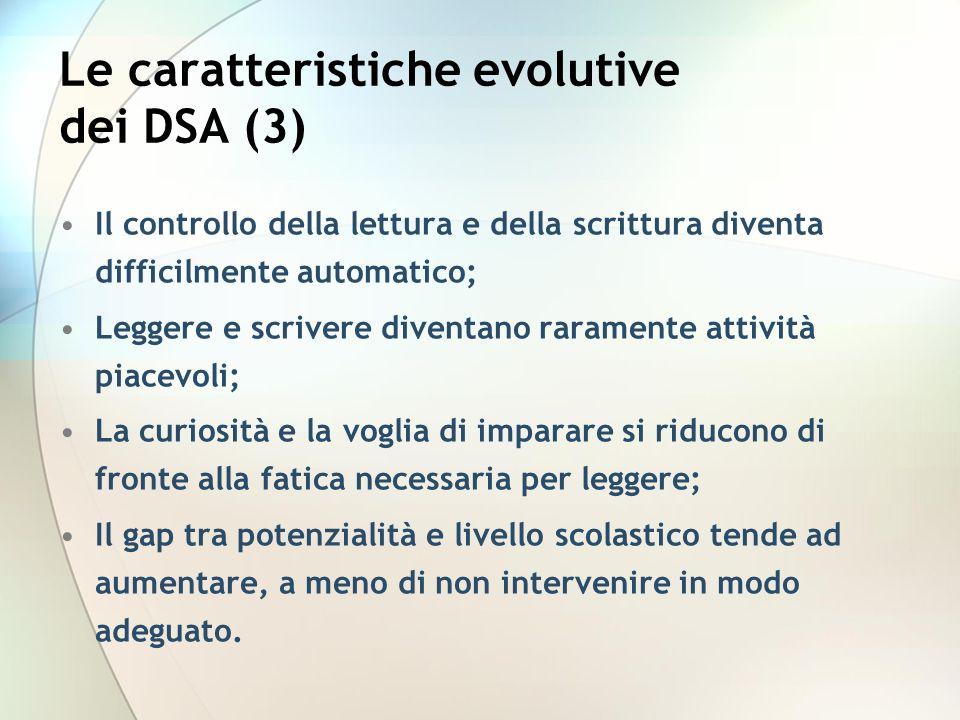 Le caratteristiche evolutive dei DSA (3)