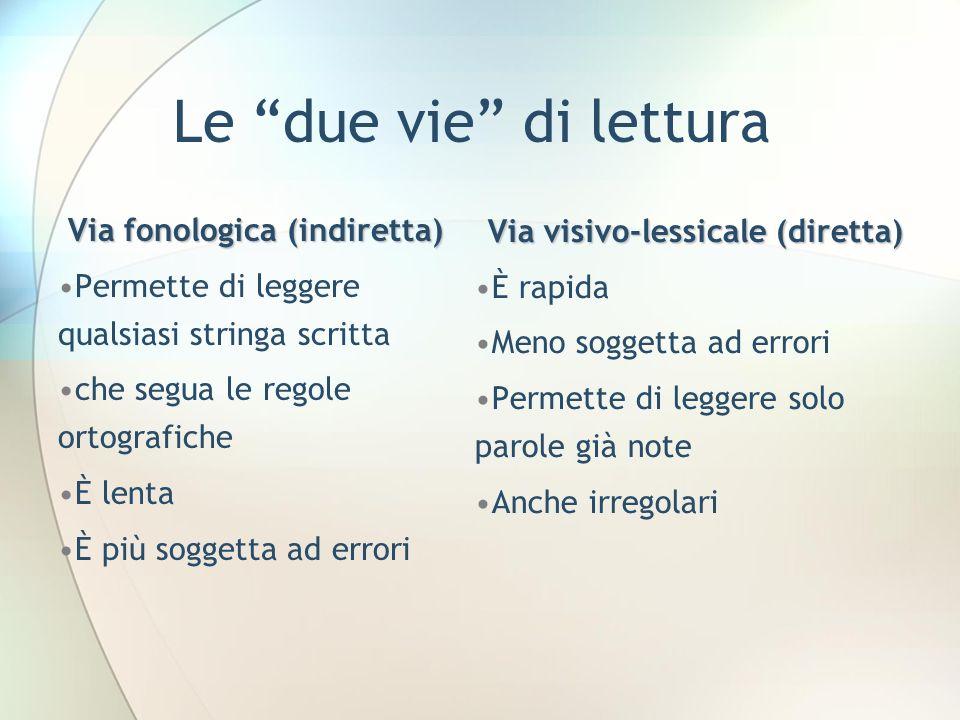 Via fonologica (indiretta) Via visivo-lessicale (diretta)