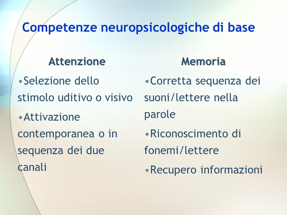 Competenze neuropsicologiche di base