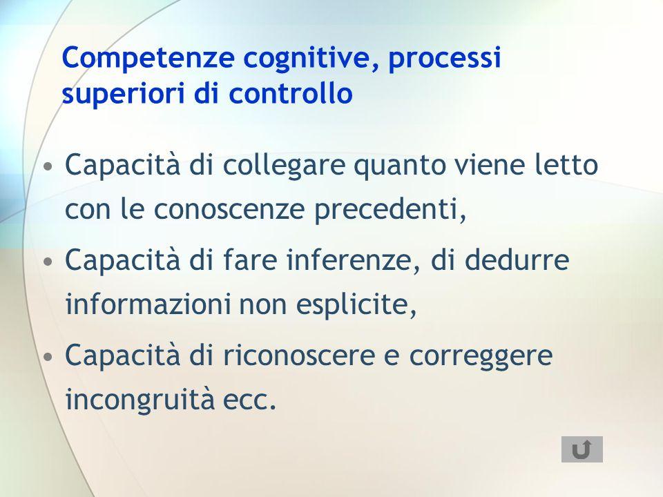 Competenze cognitive, processi superiori di controllo