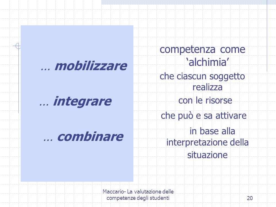 … integrare … combinare competenza come 'alchimia' … mobilizzare