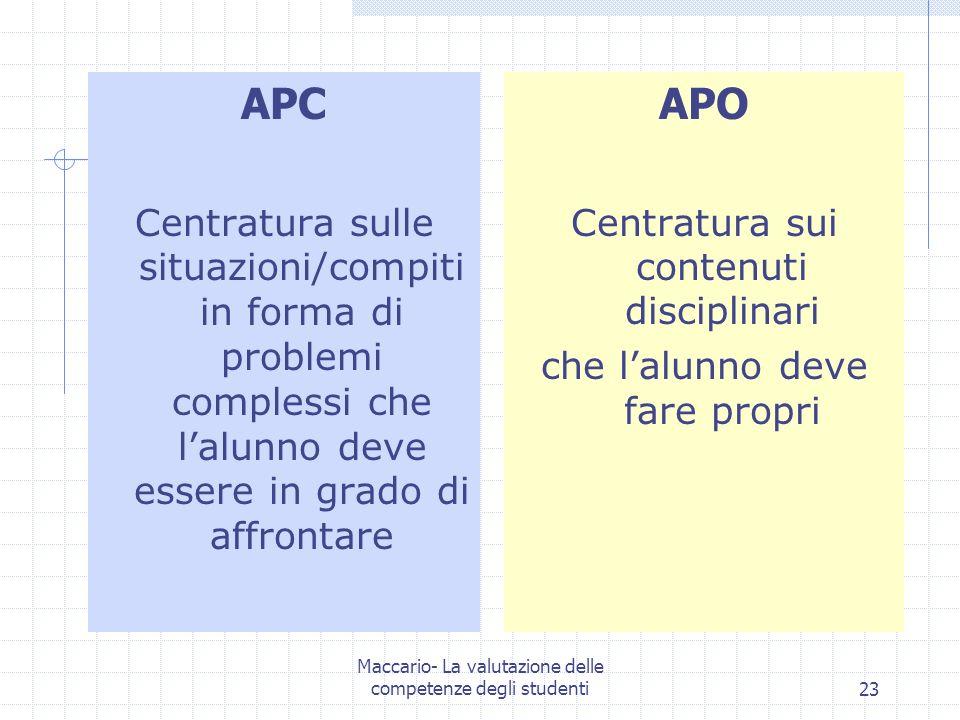 APC Centratura sulle situazioni/compiti in forma di problemi complessi che l'alunno deve essere in grado di affrontare.