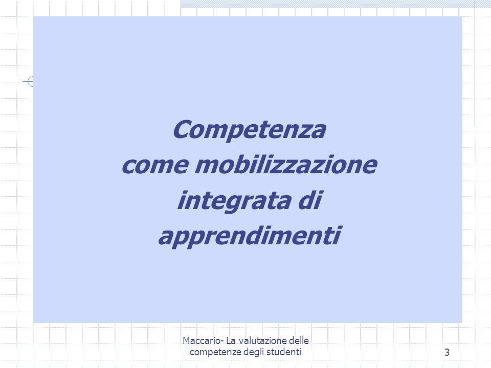 Competenza come mobilizzazione integrata di apprendimenti