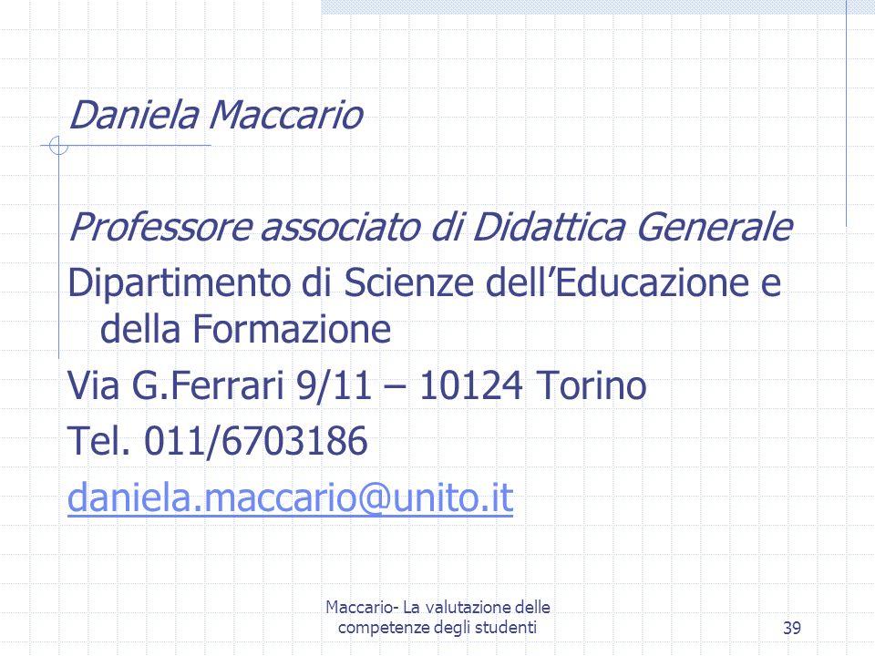 Maccario- La valutazione delle competenze degli studenti