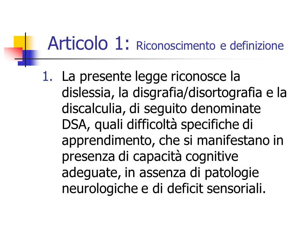Articolo 1: Riconoscimento e definizione