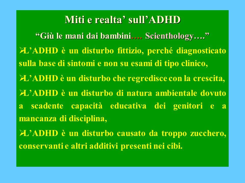 Miti e realta' sull'ADHD Giù le mani dai bambini…. Scienthology….