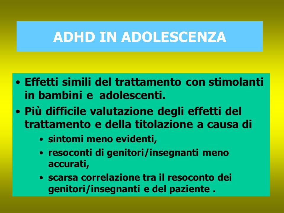 ADHD IN ADOLESCENZA Scopo: NOTE DEL RELATORE. Effetti simili del trattamento con stimolanti in bambini e adolescenti.