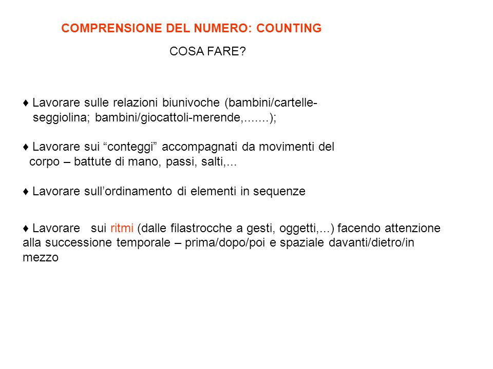 COMPRENSIONE DEL NUMERO: COUNTING