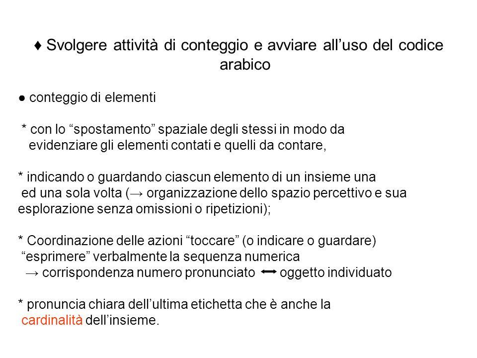♦ Svolgere attività di conteggio e avviare all'uso del codice