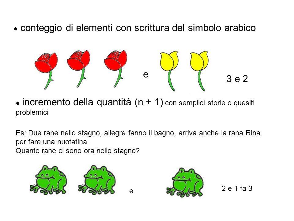 e 3 e 2 ● conteggio di elementi con scrittura del simbolo arabico