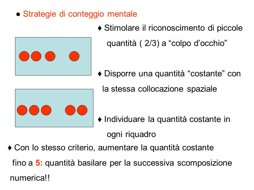 ● Strategie di conteggio mentale