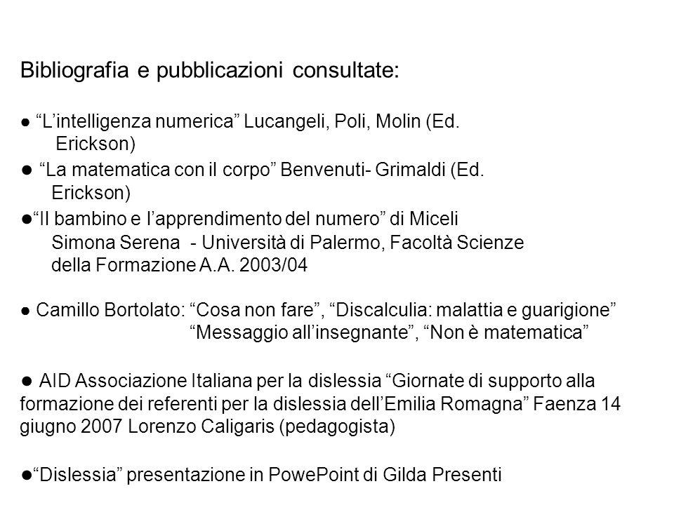 Bibliografia e pubblicazioni consultate: