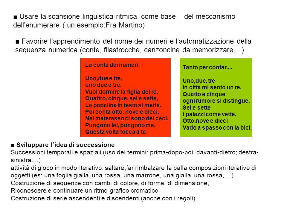 ■ Usare la scansione linguistica ritmica come base del meccanismo dell'enumerare ( un esempio:Fra Martino)
