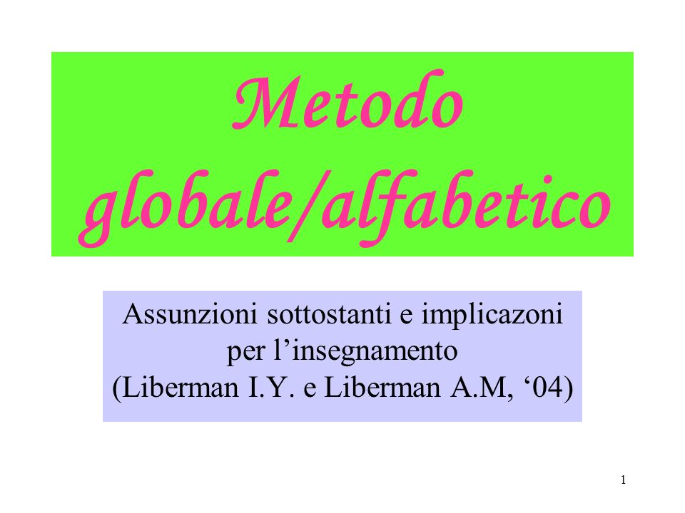 Metodo globale/alfabetico
