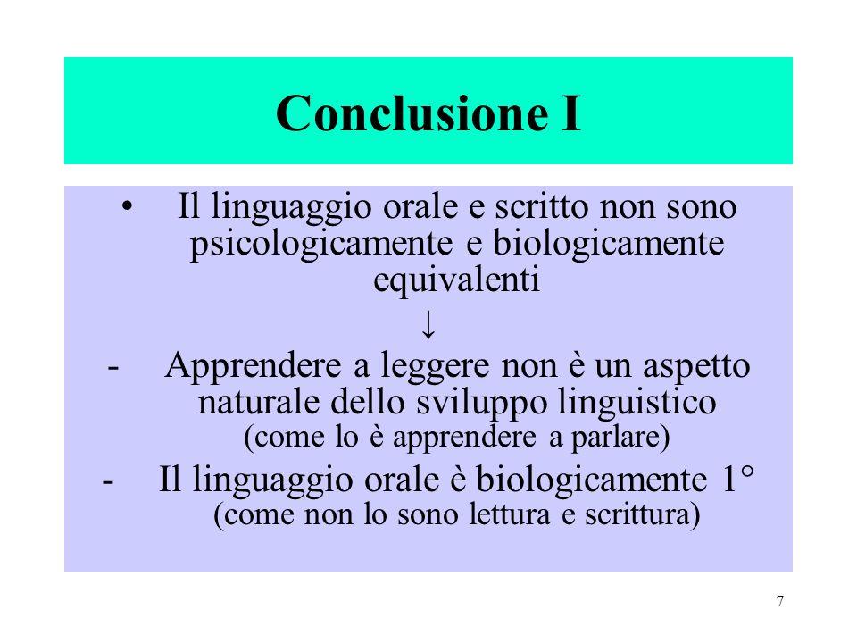 Conclusione IIl linguaggio orale e scritto non sono psicologicamente e biologicamente equivalenti. ↓