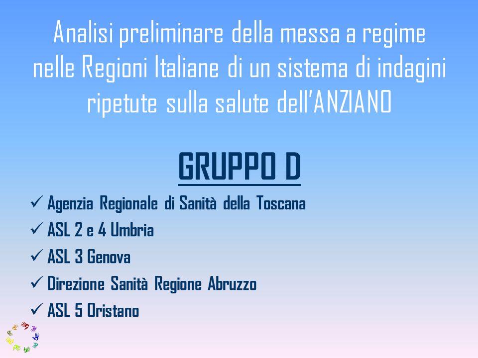 Analisi preliminare della messa a regime nelle Regioni Italiane di un sistema di indagini ripetute sulla salute dell'ANZIANO