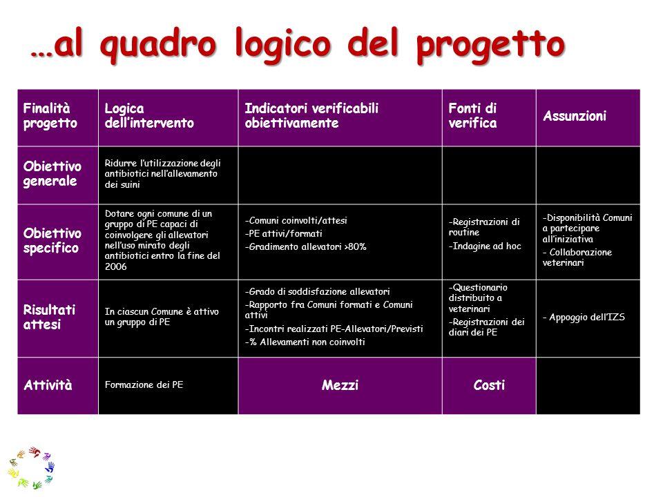 …al quadro logico del progetto