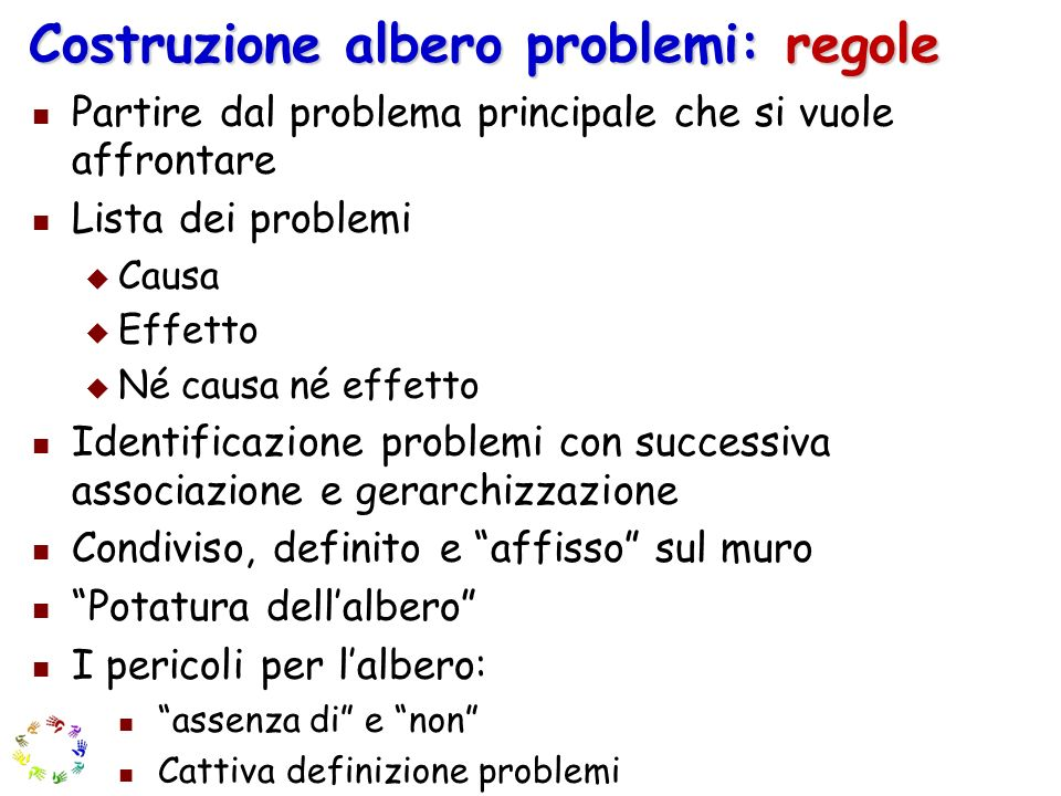 Costruzione albero problemi: regole