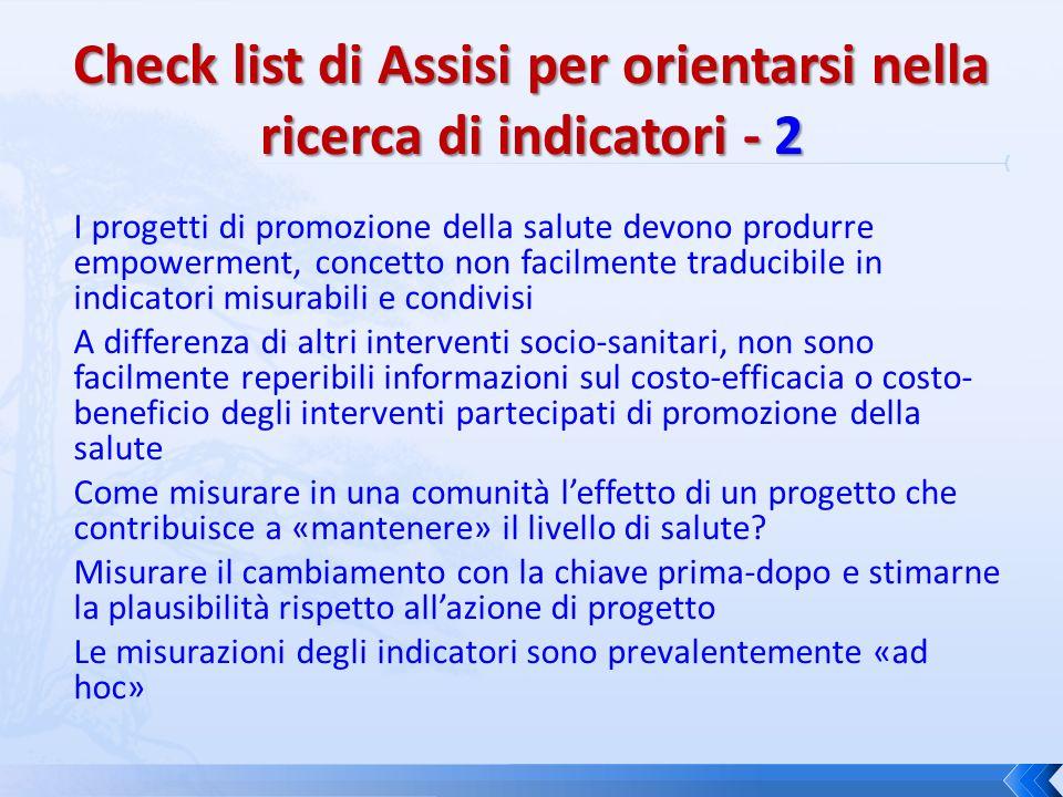 Check list di Assisi per orientarsi nella ricerca di indicatori - 2
