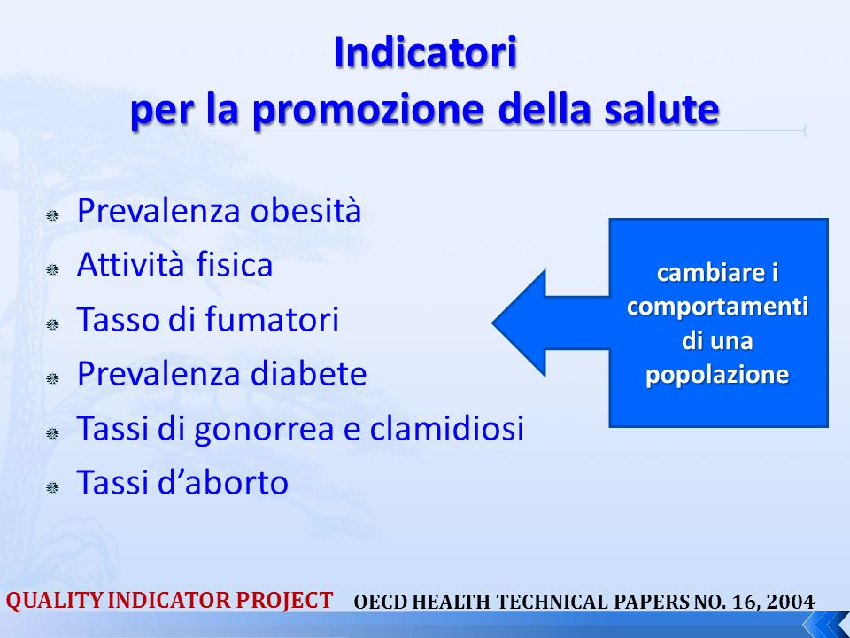 Indicatori per la promozione della salute