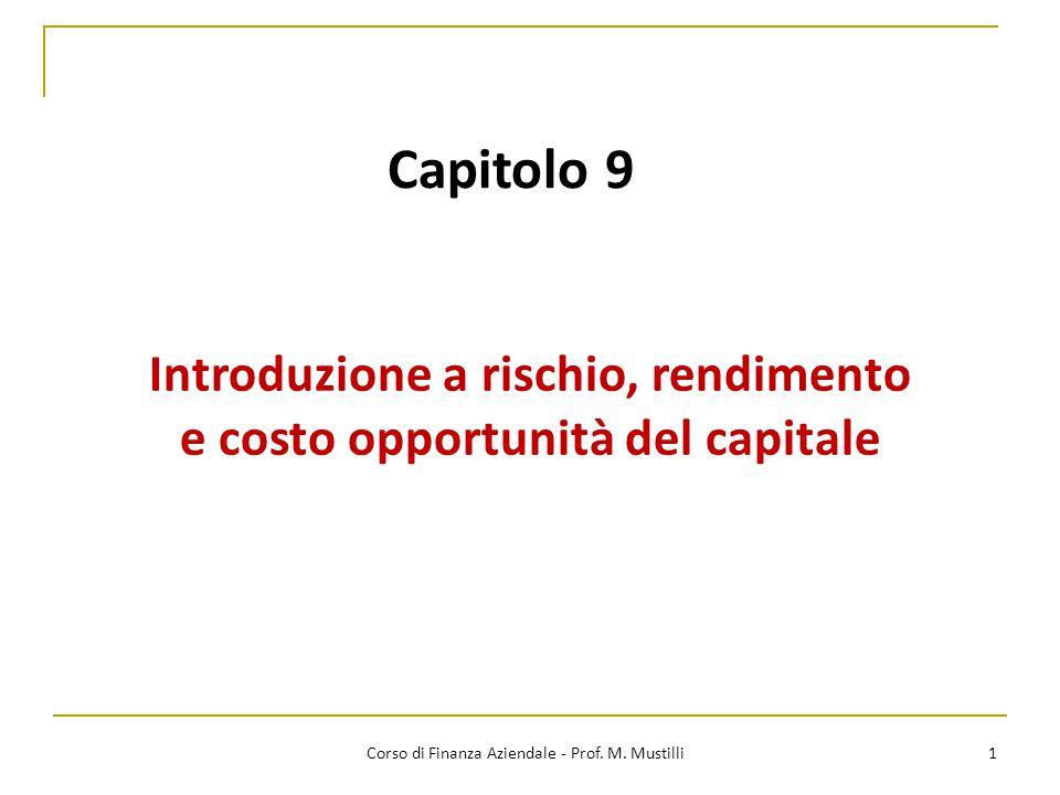 Introduzione a rischio, rendimento e costo opportunità del capitale