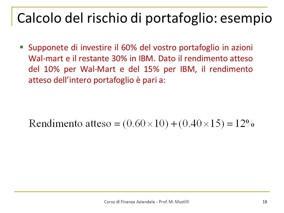 Calcolo del rischio di portafoglio: esempio
