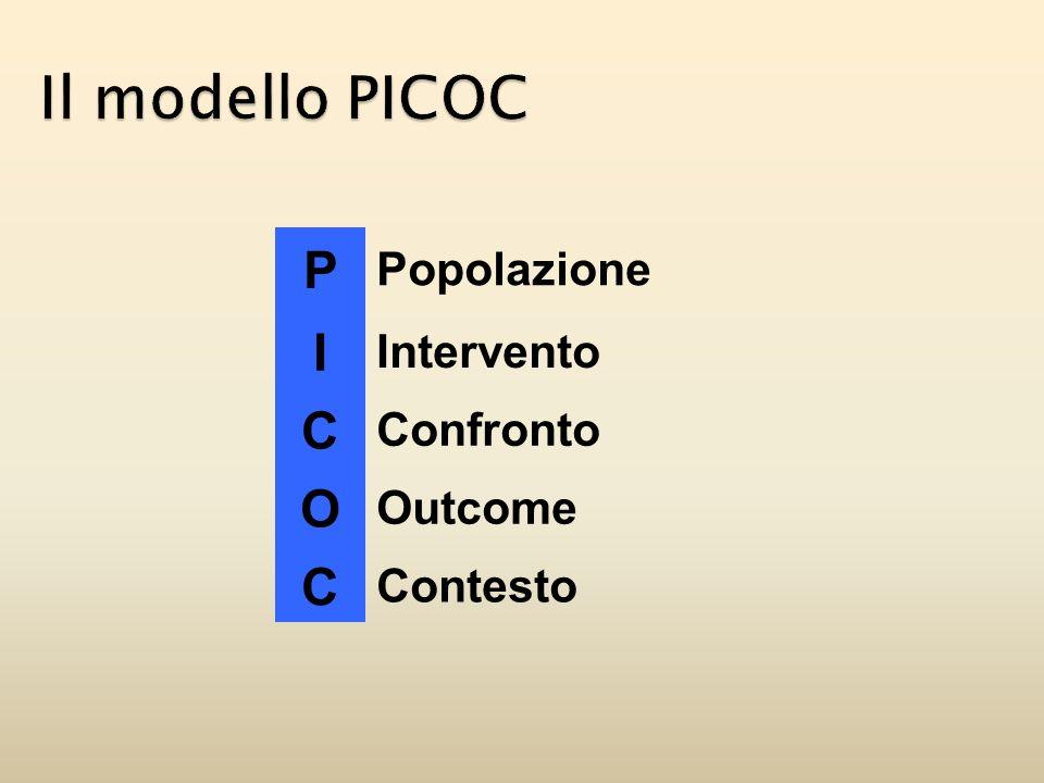 Il modello PICOC P I C O Popolazione Intervento Confronto Outcome