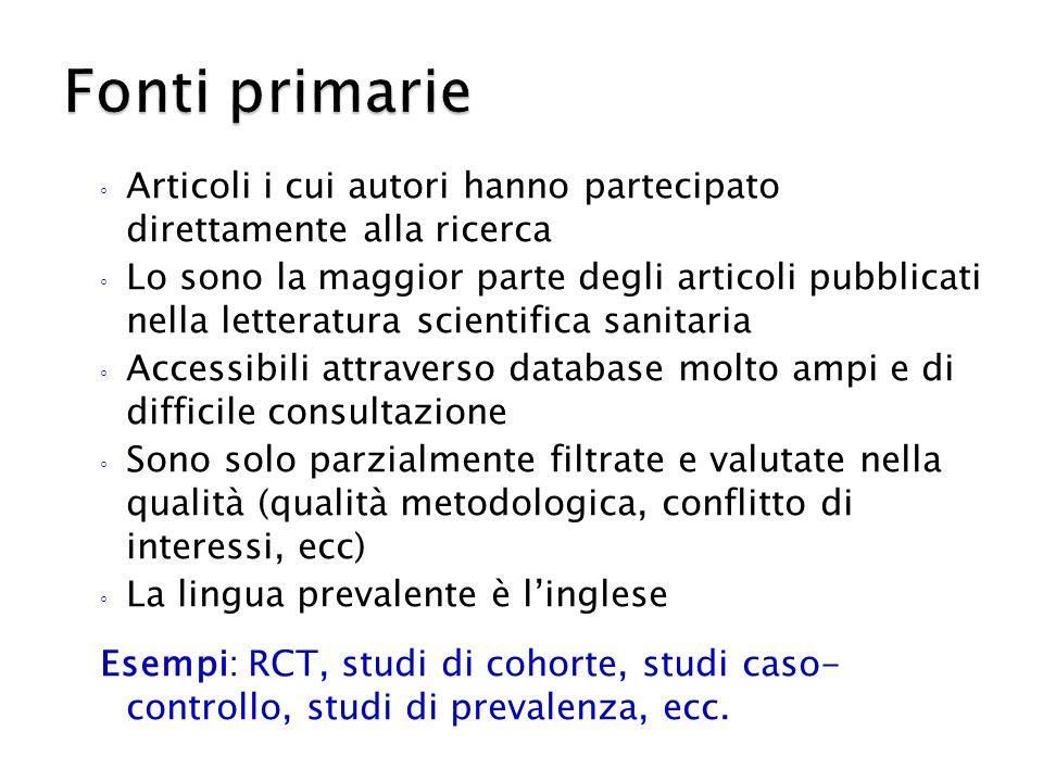 Fonti primarie Articoli i cui autori hanno partecipato direttamente alla ricerca.