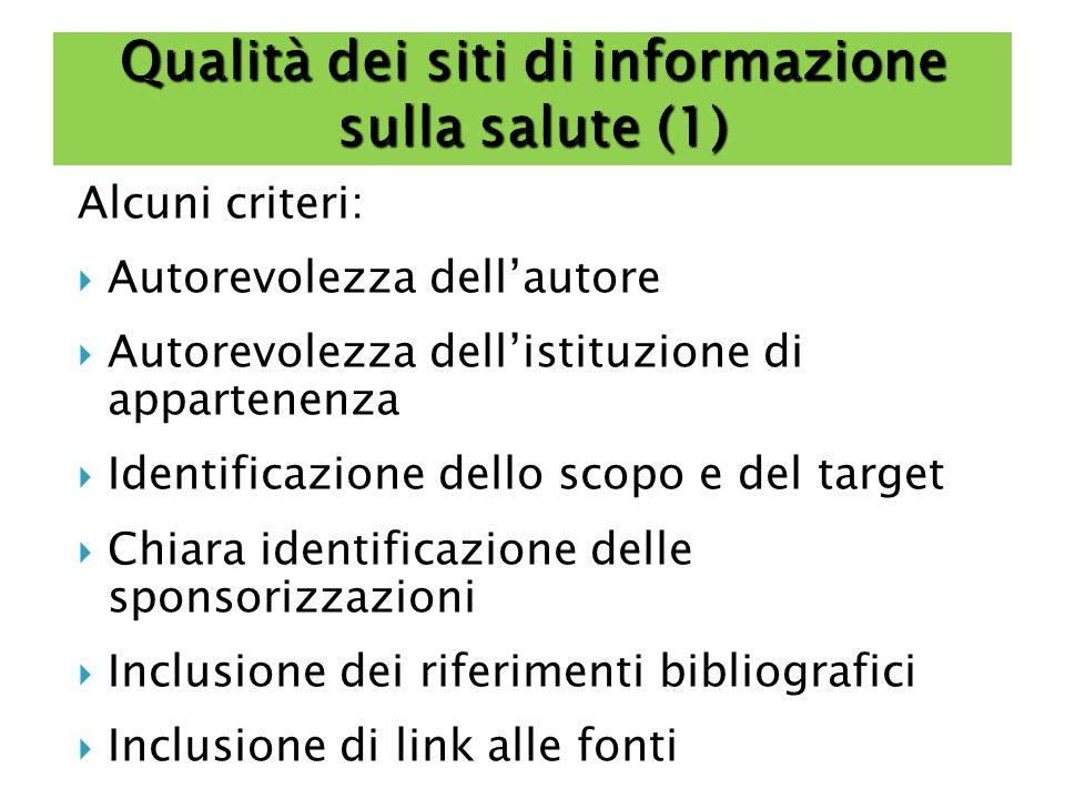 Qualità dei siti di informazione sulla salute (1)