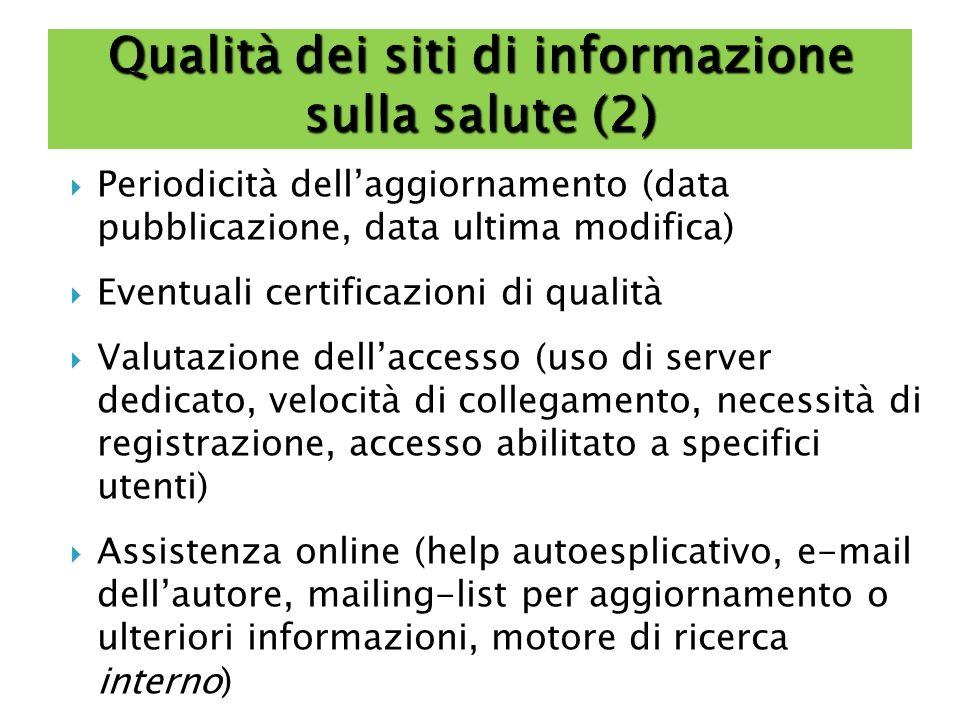 Qualità dei siti di informazione sulla salute (2)