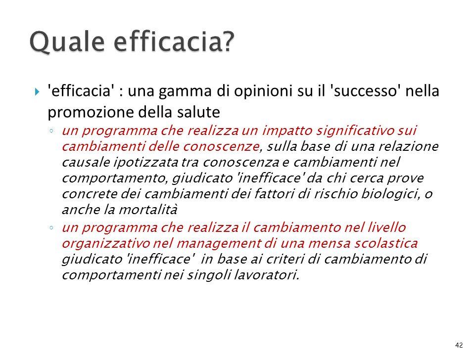 Quale efficacia efficacia : una gamma di opinioni su il successo nella promozione della salute.