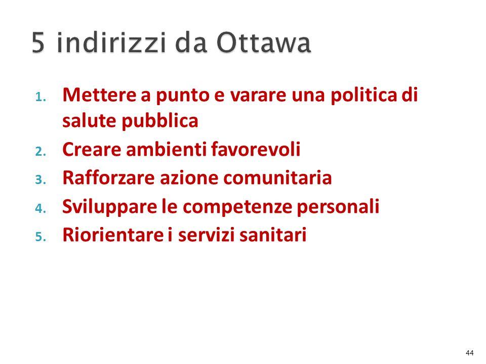 5 indirizzi da Ottawa Mettere a punto e varare una politica di salute pubblica. Creare ambienti favorevoli.