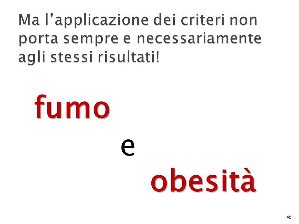 Ma l'applicazione dei criteri non porta sempre e necessariamente agli stessi risultati!
