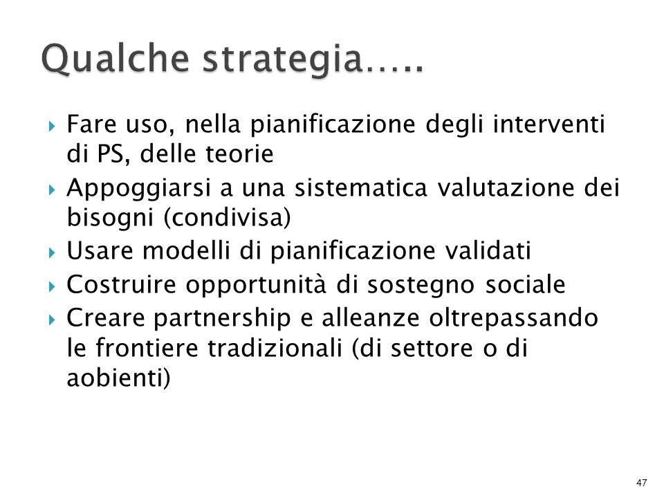 Qualche strategia….. Fare uso, nella pianificazione degli interventi di PS, delle teorie.