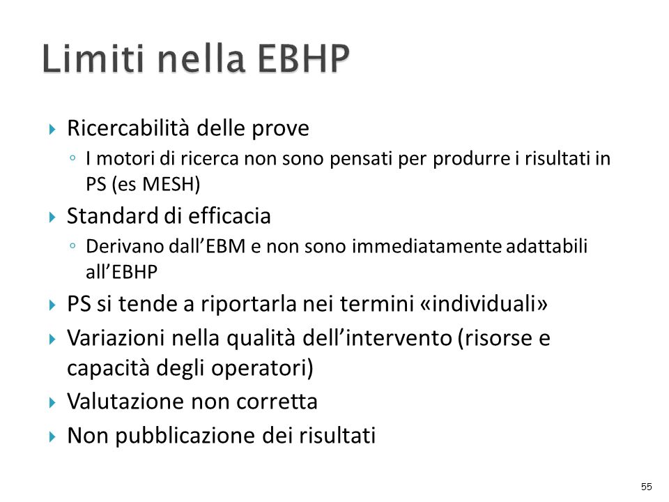 Limiti nella EBHP Ricercabilità delle prove Standard di efficacia