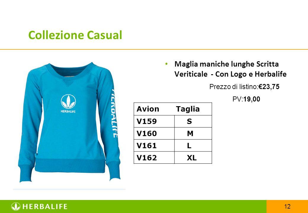 Collezione Casual Maglia maniche lunghe Scritta Veriticale - Con Logo e Herbalife. Prezzo di listino:€23,75.