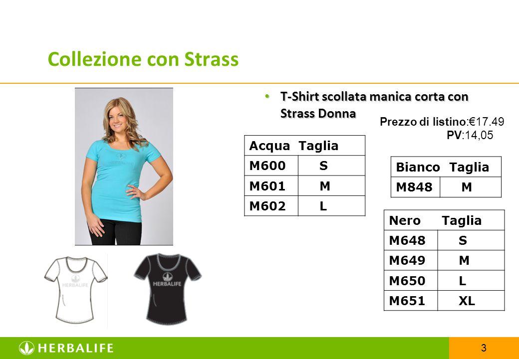 Collezione con Strass T-Shirt scollata manica corta con Strass Donna