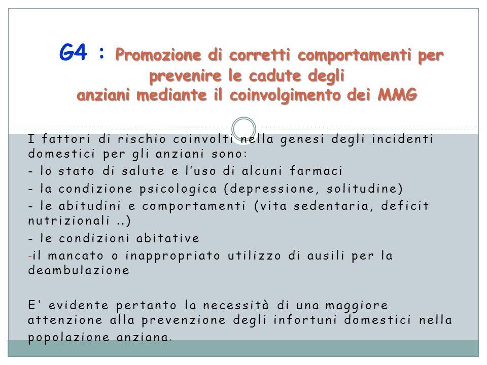 G4 : Promozione di corretti comportamenti per prevenire le cadute degli anziani mediante il coinvolgimento dei MMG