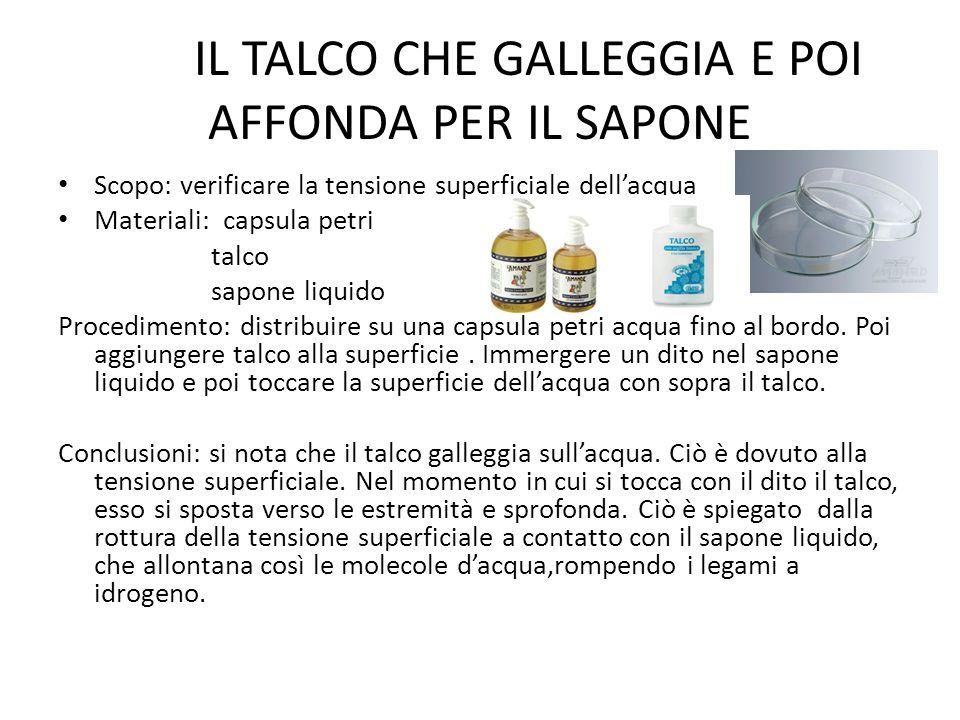 IL TALCO CHE GALLEGGIA E POI AFFONDA PER IL SAPONE