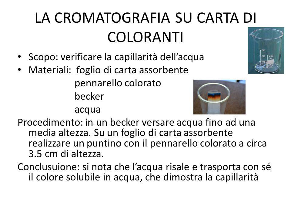 LA CROMATOGRAFIA SU CARTA DI COLORANTI