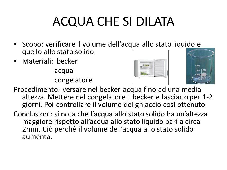 ACQUA CHE SI DILATA Scopo: verificare il volume dell'acqua allo stato liquido e quello allo stato solido.