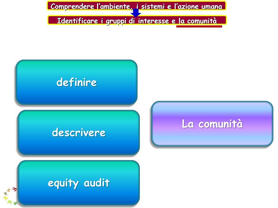 definire La comunità descrivere equity audit