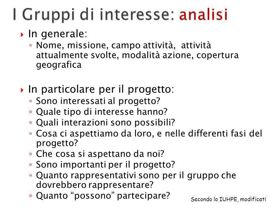 I Gruppi di interesse: analisi