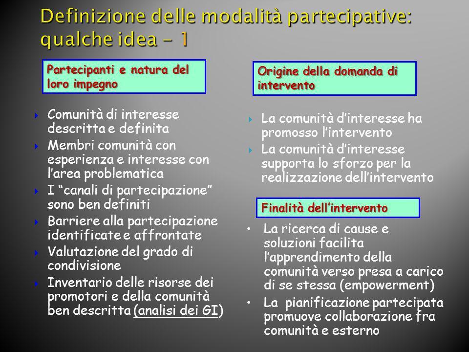 Definizione delle modalità partecipative: qualche idea - 1